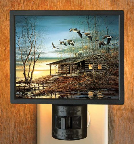Evening Retreat Cabin & Geese Gallery Art Night Light by Terry Redlin