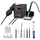 878D Rework Soldering Station, Digital Display Soldering Iron and Hot Air Desoldering Gun Welding 2 in 1 SMD Rework Station Kit with Heating Core Replacement,700W 480? (Color: Black, Tamaño: 878D station)