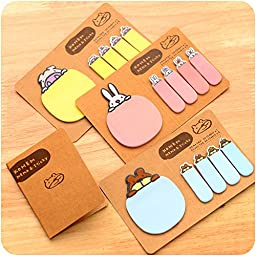 6 pcs/Lot Kraft sticky tag Brown paper memo pad Folding notes Cute stationery Office accessories