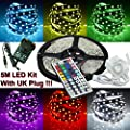 WWaterproof 5M 5050RGB Led Strips Lighting Full Kit With 44Key IR Remote For Home lighting and Kitchen