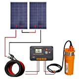 ECO-WORTHY 2pcs 100 Watts Polycrystalline Solar Panel with 24V Submersible Well Pump & Mounting Kits for Water Fountain (Color: Multi, Tamaño: 24V)