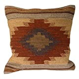 """Cushion Covers Kilim, commercio equo e solidale, fatto a mano su Handlooms utilizza 80/20-Cuscino in lana/cotone, colori naturali pallidi """"Almora"""", Tessuto, marrone, 45 x 45"""
