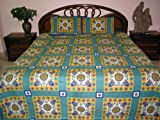 Cotton Bedspreads Teal Blue 3p Elephant Print Throw