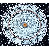 Handicrunch White Zodiac Horoscope Tapestry, Indian Astrology Hippie Wall Hanging, Divine Ethnic Decorative Gift Art, Sun Moon Celtic Zodiac Tapestry