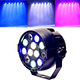 Mini Sound Activate DMX Control 12 LED RGBW Color Mixing Par Spot Light Disco Party DJ Music Show Projectors Stage Lighting Effect (Black)
