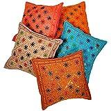Ufc Mart Mirror Zari Work Cotton Cushion Cover 5pc. Set, Color: Multi-Color, #Ufc00465