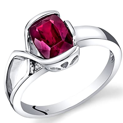 Revoni 14ct White Gold Created Ruby Diamond Bezel Ring 1.76 Carats Total
