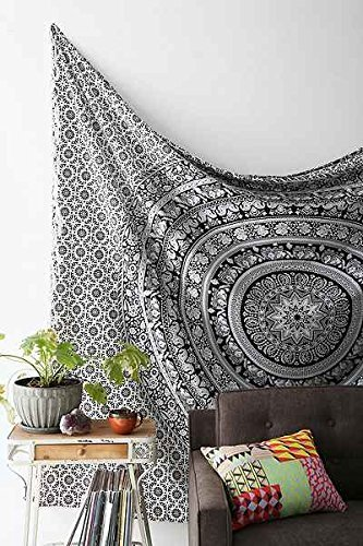 Tapestry-Black-and-White-Hippie-Elephant-Mandala-Tapestry-Double-Indian-Traditional-Beach-Throw-Queen-Wall-Art-College-Dorm-Bohemian-Wall-Hanging-Boho-Bedspread-tapestries-92-x-82-Black-White