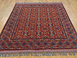 5 x 7 HAND KNOTTED RED FINE AFGHAN KAZAK ORIENTAL RUG G22917