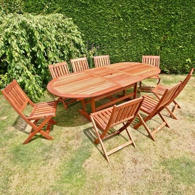 BillyOh Elegance 2.3m Oval Extending 8 Seater Wooden Garden Furniture Set