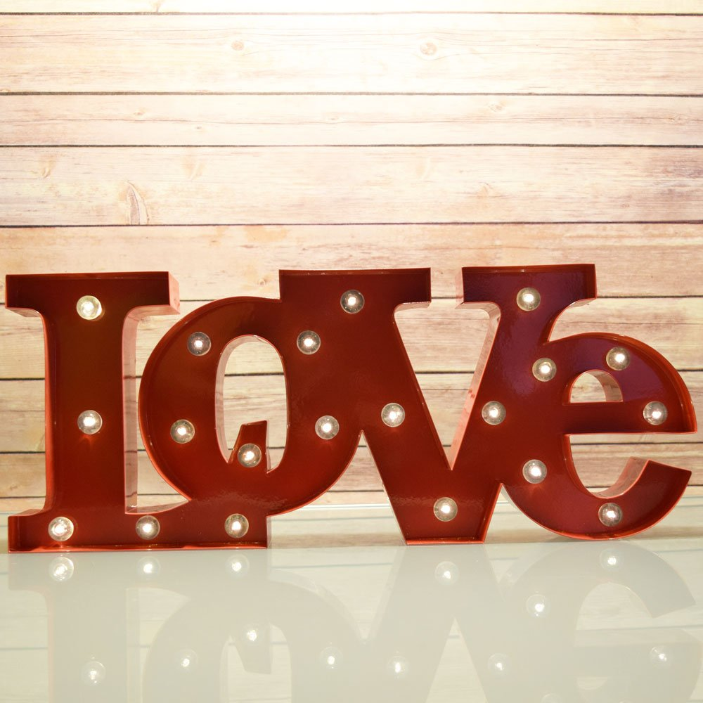 Fantado Marquee Light Red 'LOVE' Word LED Metal Sign (Battery Operated) by PaperLanternStore 0
