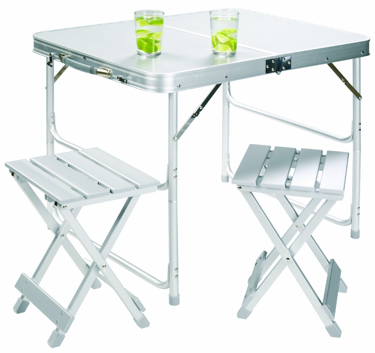 Grand Canyon Koffertisch Set inkl. 2 Hocker, klappbar, Aluminium, silber, 308006
