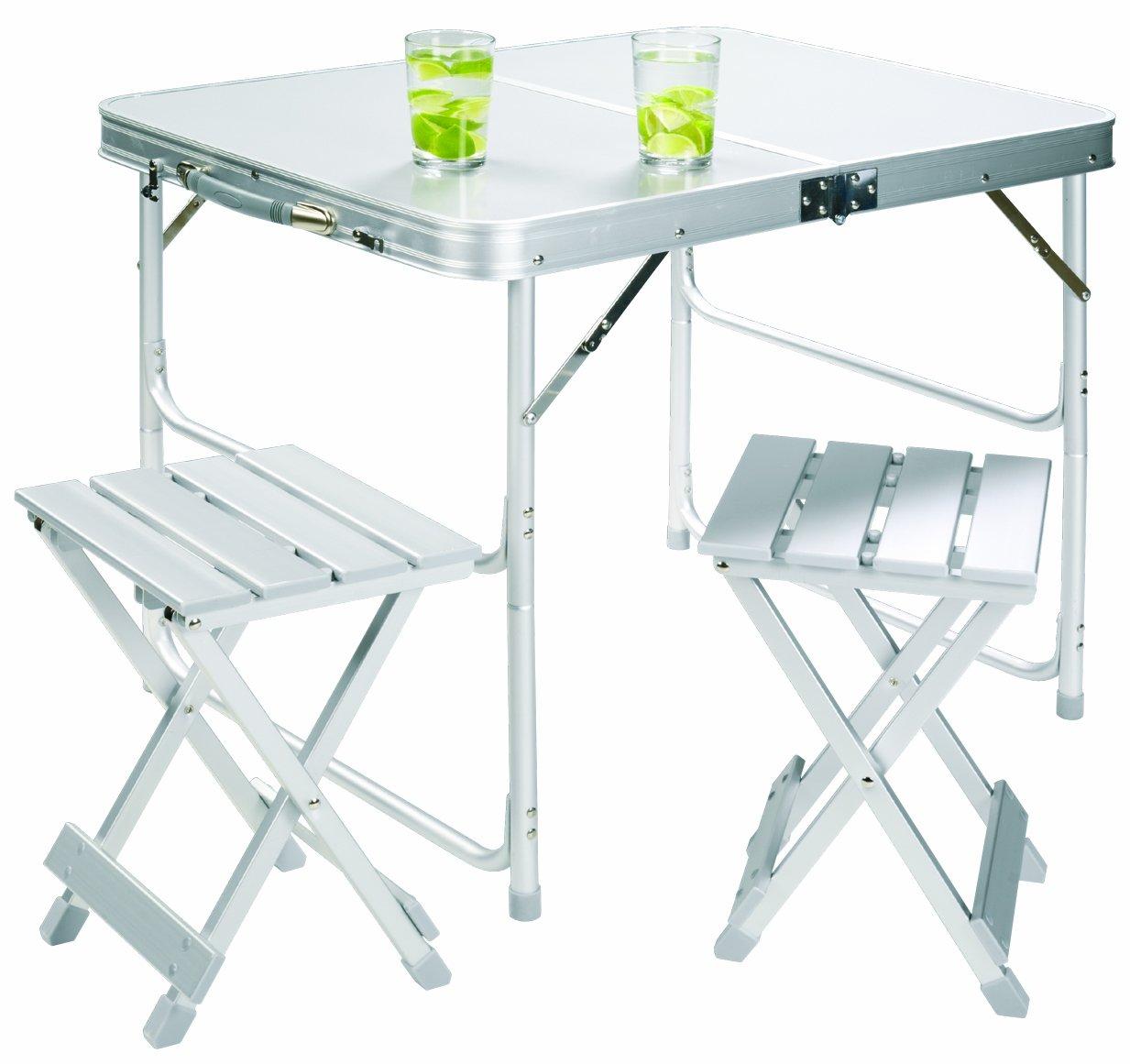 Grand Canyon Koffertisch Set inkl. 2 Hocker, klappbar, Aluminium, silber, 308006 günstig online kaufen