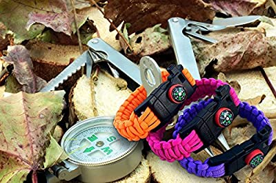 550 Paracord Survival Bracelet 5-in-1 100%Nylon Military Grade by Exxceed