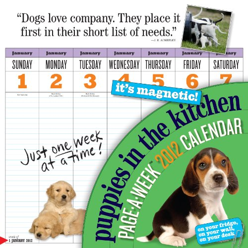 Puppies in the Kitchen Page-A-Week Calendar [With Magnet(s)] (Wall Calendar)