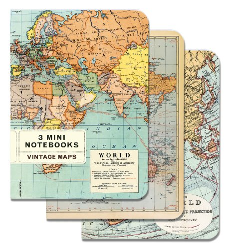 61ABxpFyJ1L. SL500  Cavallini Mini Notebooks Vintage Maps 4 x 5, 3 Mini Notebooks