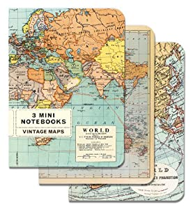 Cavallini Mini Notebooks Vintage Maps 4 x 5, 3 Mini Notebooks