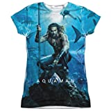 Aquaman Movie Poster Women's Front Only Sublimated T Shirt, X-Large (Color: White, Tamaño: X-Large)