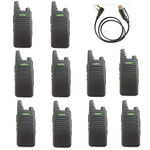 radtel RT-10 Mini Two Way Radio UHF 400-470Mhz 3W Kid's Walkie Talkie,Compatible with WLN KD-C1 for Outdoor Camping Hiking Hunting Gift (10 Pack) (Color: Black, Tamaño: 10 Pack)