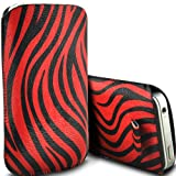 Samsung E2530 Pull Tab Zebra Case PU Leather Pocket Pouch Cover in RED (S)