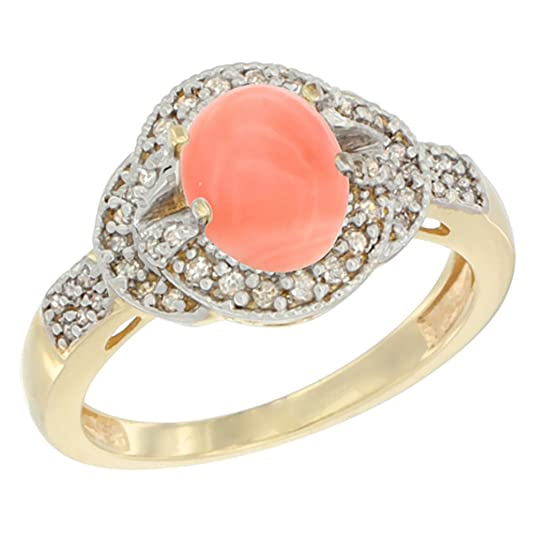 14ct Yellow Gold Natural Coral Ring Oval 8x6 mm Diamond Accent, size R