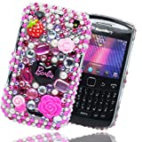 Cooltechstuff Hot Pink/Black Hard Fitted Case Cover/Gemstone Barbie Diamond Flower For Blackberry Curve 9360