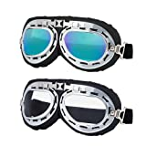LJDJ Motorcycle Goggles - Set of 2 - Aviator Pilot Glasses Dirt Bike ATV Motocross Goggles Anti-UV Adjustable Riding Offroad Sports Goggles Scooter Harley Eyewear for Men Women Kids Youth Adult (Color: Silver/Clear+Colorful lenses)