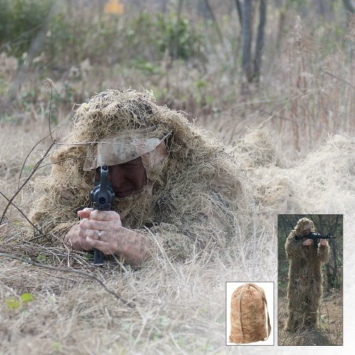 5-piece Desert Ghillie Suit! Includes Hood, Jacket with Elastic Waist and Cuff, Pants with Elastic/drawstring in the Waist and a Gun Cover.