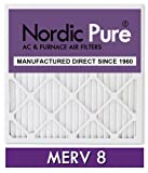 Nordic Pure 12x24x1M8-6 MERV 8 Pleated AC Furnace Air Filter, 12x24x1, Box of 6