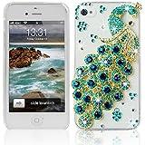 3D Strass Pfau Klar Kristall Schutzhülle für Apple iphone 4 4S Hülle (harte Rückseite) Bling Glitzer Tasche Etui mit Diamant Türkis Peacock Transparent