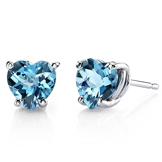Revoni 14ct White Gold Heart Shape 1.75 Carats Swiss Blue Topaz Stud Earrings
