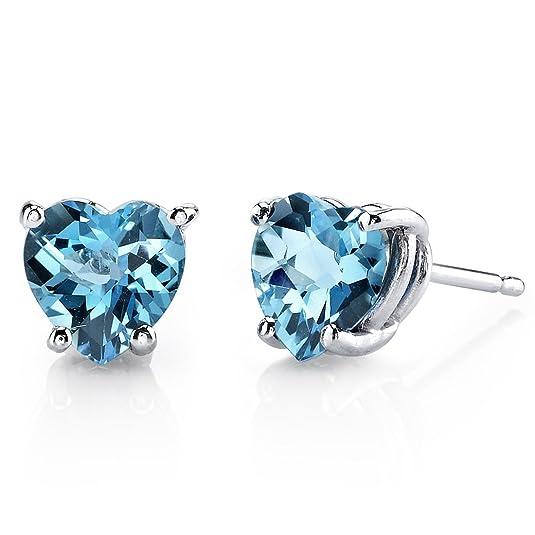 Revoni 14ct White Gold Heart Shape 1.75 Carats Swiss Blue Topaz Stud Earrings