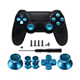 TOMSIN Metal Buttons for DualShock 4, Aluminum Metal Thumbsticks Analog Grip & Bullet Buttons & D-pad for PS4 Controller (Blue) (Color: Blue)