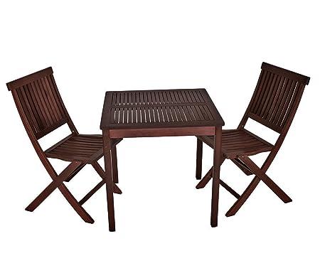 Balkonset ARUBA 3-teilig Kolonialstil Eukalyptus Holz, 2x Klappstuhl, 1x Tisch 70x70cm, FSC®-zertifiziert