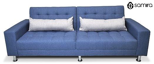 Divano letto in tessuto blu cobalto - divanetto 3 posti mod. Giulia