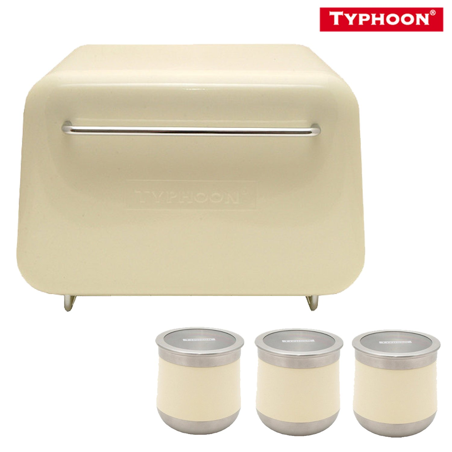 Typhoon novo cream vintage kitchen enamelled bread bin 3 for Cream kitchen set