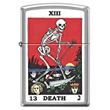 Tarot XIII Death Card skeleton with Sickle Chrome Zippo Lighter (Color: Brushed Chrome, Tamaño: 2
