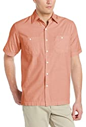 IZOD Men's Short Sleeve Solid Pointed Collar Button-Down