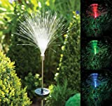 3 x Stainless Steel Solar Powered Fibre Optic Colour Changing Led Outdoor Garden Light