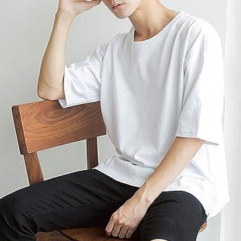 J-MOOSE カットソー Tシャツ メンズ 無地 5分袖 半袖 綿100% ロンT ドルマン ビッグ クルーネック 丸首 ゆったり シルエット