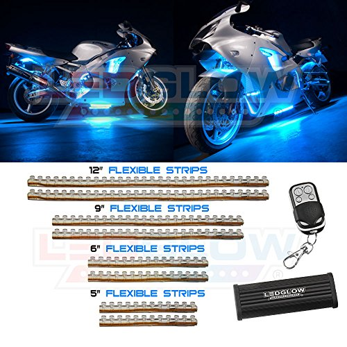 LEDGlow 8pc Ice Blue LED Flexible Motorcycle Light Kit (Ice Blue Motorcycle Lights compare prices)