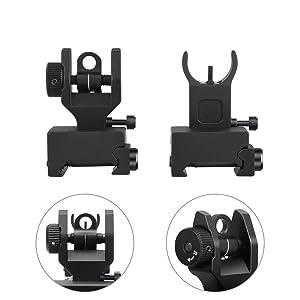 Marmot Flip Up Iron Sights A2 Front Sight & Rear Sight for Gun Rifle Handgun (Color: black, Tamaño: Small)
