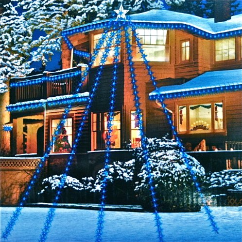 200 LED House Star with 5 strings outdoor Christmas lights set BLUE