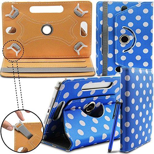 Prestigio MultiPad 8.0 Pro Duo Tablet Neues Design Universelle um 360 Grad drehbare PU-Leder Designer bunte Hülle mit Standfunktion - Cover - Tasche - Blaue Polka / Blue Polka Dot - Von Gadget Giant®