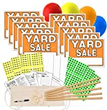 Yard Sale Sign Kit with Pricing Stickers and Wood Sign Stakes
