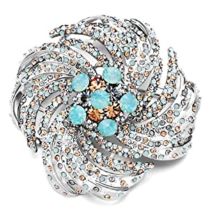Pugster Topaz Blue Crystal Floral Roundes Brooches And Pins
