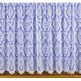 """Kent White Net Curtain. 36""""(90cm) Drop in Luxury Victorian Lace Effect Damask Pattern. Sold by the Metre."""