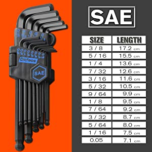 Dicfeos Hex Key Allen Wrench Set, SAE Metric Long Arm Ball End Hex Key Set Tools, Industrial Grade Allen Wrench Set, Bonus Free Strength Helping T-Handle, S2 Steel (27 Pieces) (Tamaño: 26 Pieces)