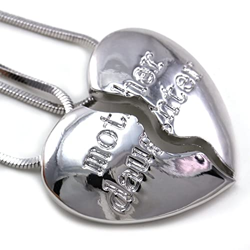 Mother Mom & Daughter Best Friends Forever BFF Heart Two Pendant Necklace Engraved Letters Mother's Day Gift Jewelry Gift for Mom