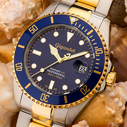 Gigandet Automatik Herren-Armbanduhr Sea Ground Taucheruhr Uhr Datum Analog Edelstahlarmband Blau Gold G2-001 2